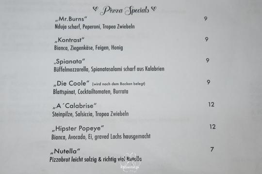 Speisekarte der Pizzeria Casalinga
