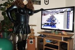 Asuka as rubber maid looks Biathlon