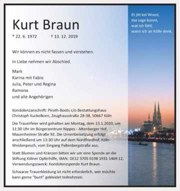 Kurt Braun, Traueranzeige