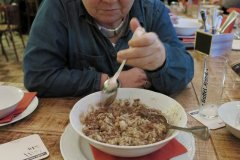 unser Wildschweingulasch mit Reis