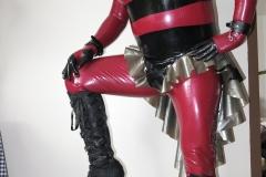 metallic rot Catsuit-schwarz-silber Stufenrock