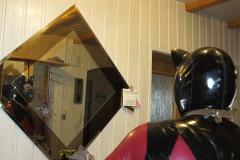 (W1) metallic rot Catsuit-schwarz-silber Stufenrock