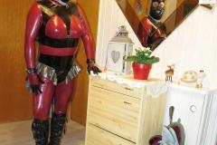 (W4) metallic rot Catsuit-schwarz-silber Stufenrock